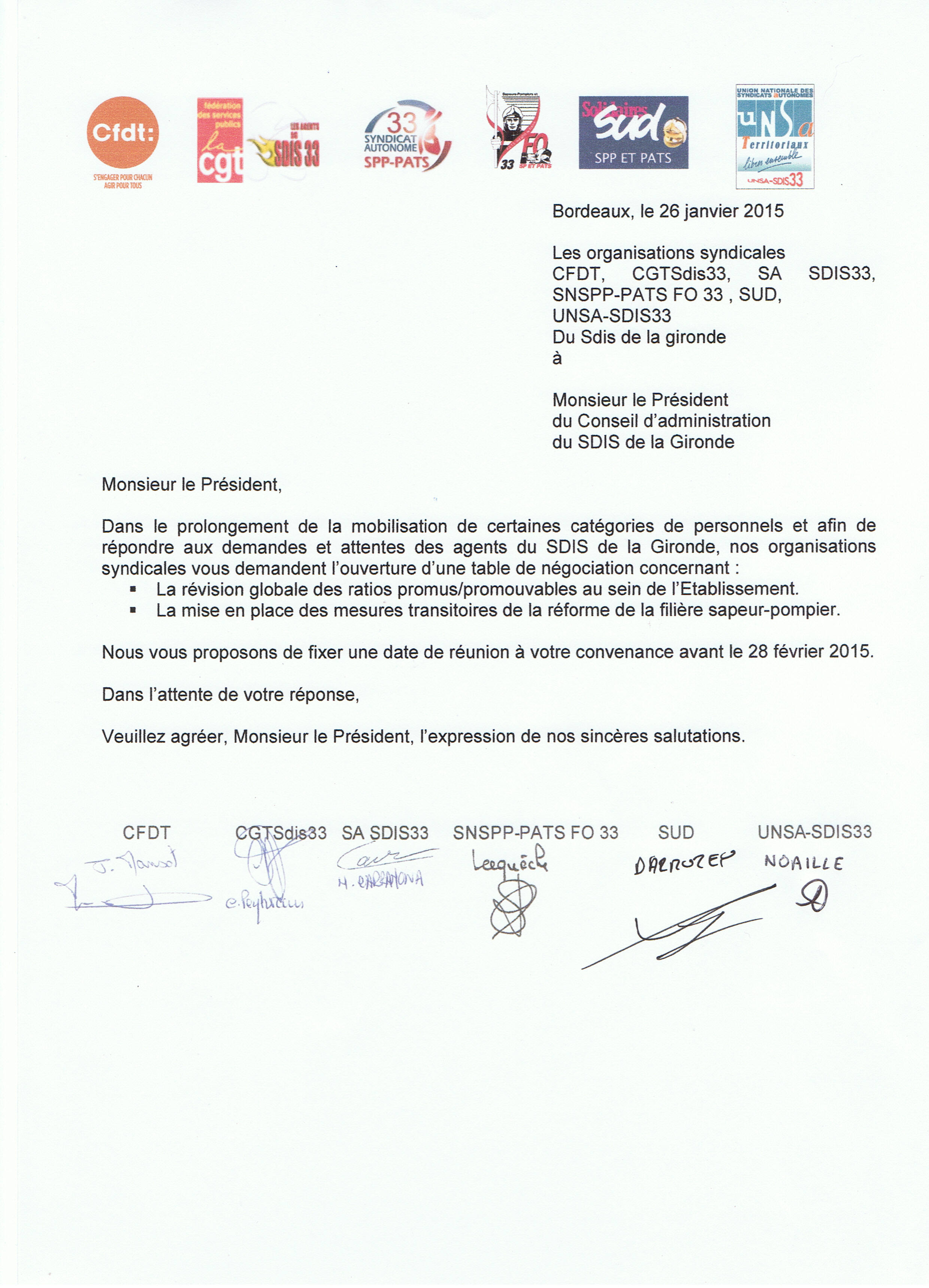 COURRIER PRESIDENT TABLE NEGO INTERSYNDICAL-RATIOS et REFORME SPP