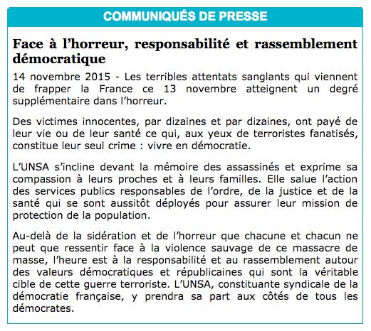 Communique de presse UNSA - Attentats du 13/11/2015
