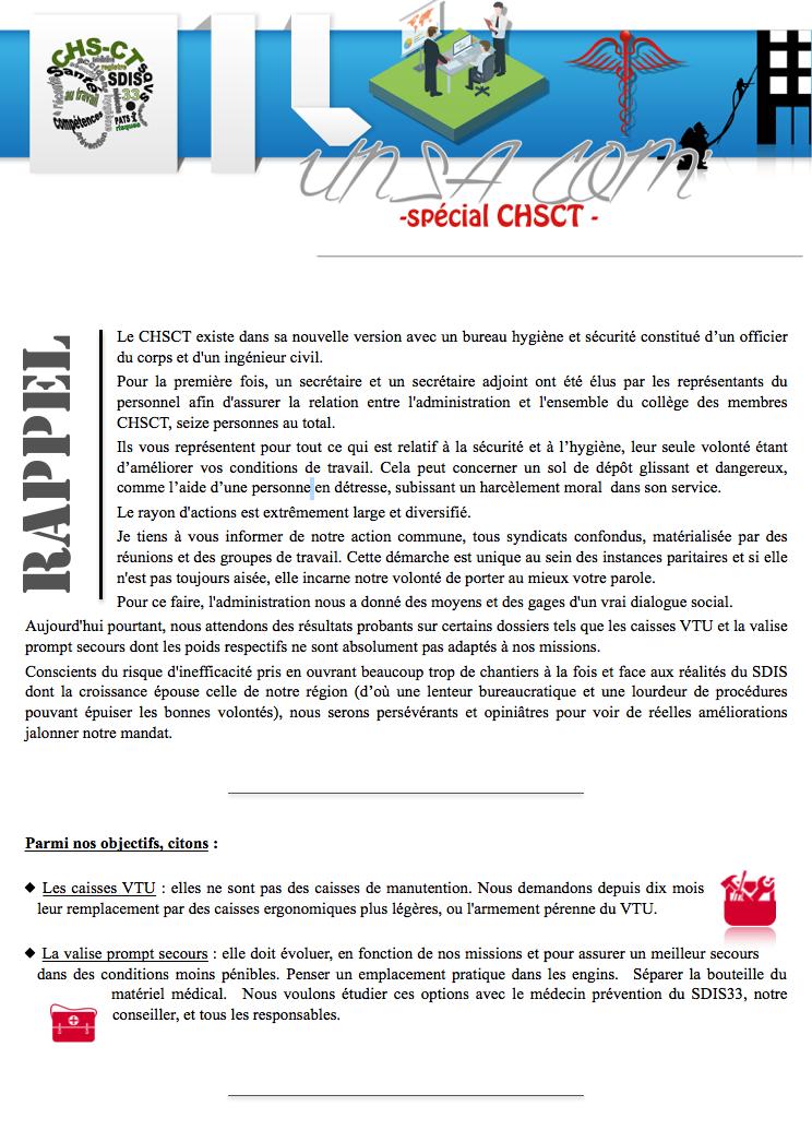 CHSCT - Communiqué #1 - Page 1