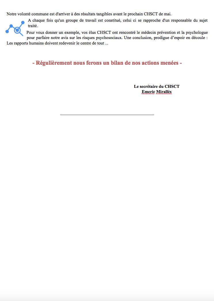 CHSCT - Communiqué #1 - Page 2