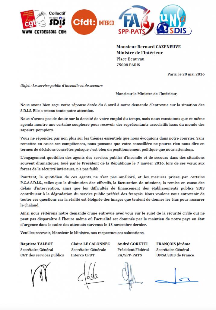 Courrier commun des organisations syndicales représentatives au ministre de l'Intérieur - 20 mai 2016