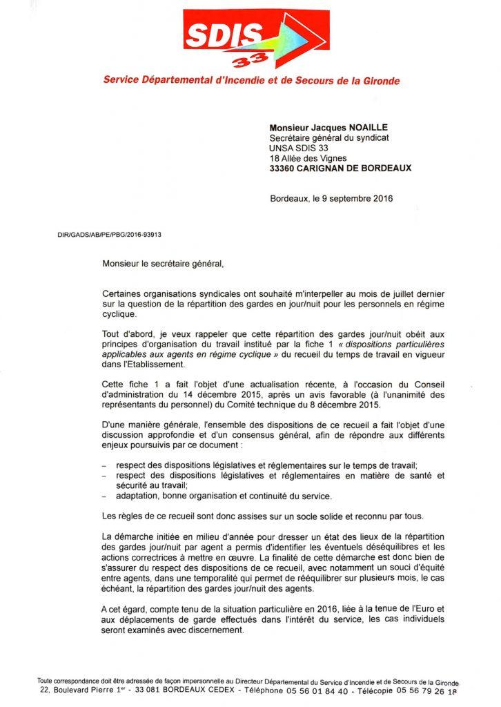 Réponse du Directeur à notre courrier du 26 juillet 2016 au sujet de la répartition des gardes jours/nuits - PAGE 1
