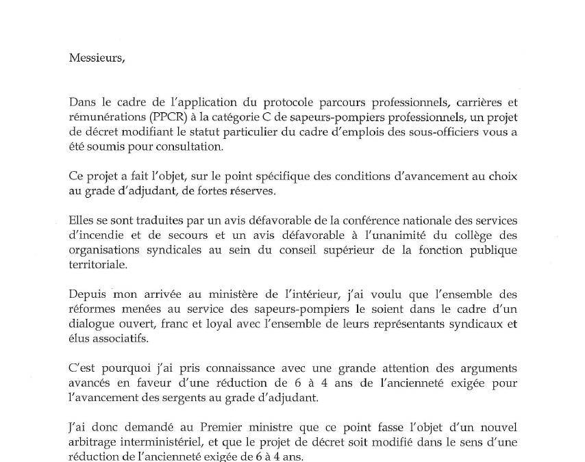 [PPCR] Arbitrage du premier ministre : courrier du ministre de l'intérieur du 15 novembre 2016